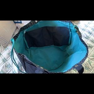 Thirty-One Navy w/tan Dots Soft Utility Tote